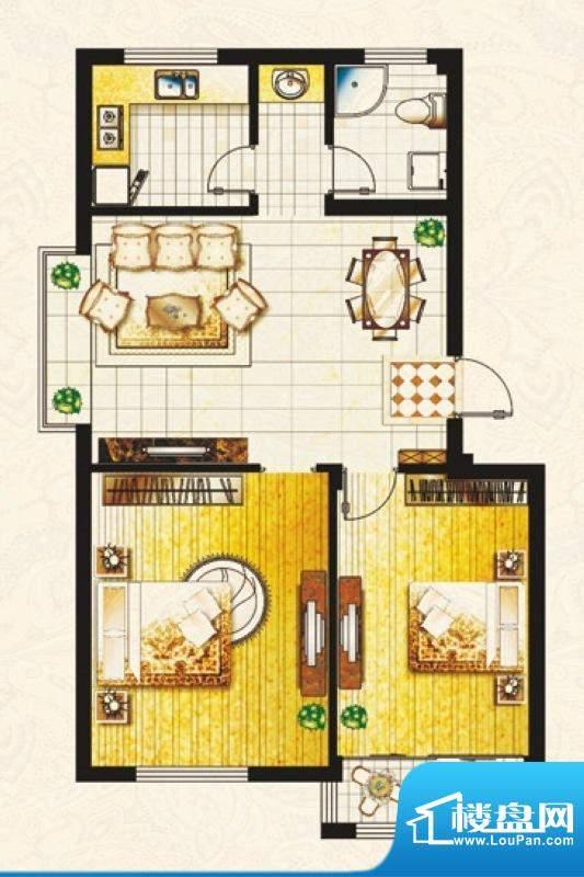 帝豪庄园F户型 2室2面积:89.03平米