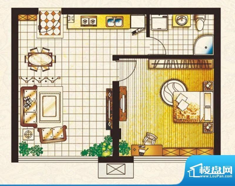 帝豪庄园Z户型 1室2面积:50.56平米