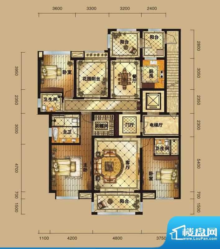 中海紫御公馆亲海华面积:192.00平米