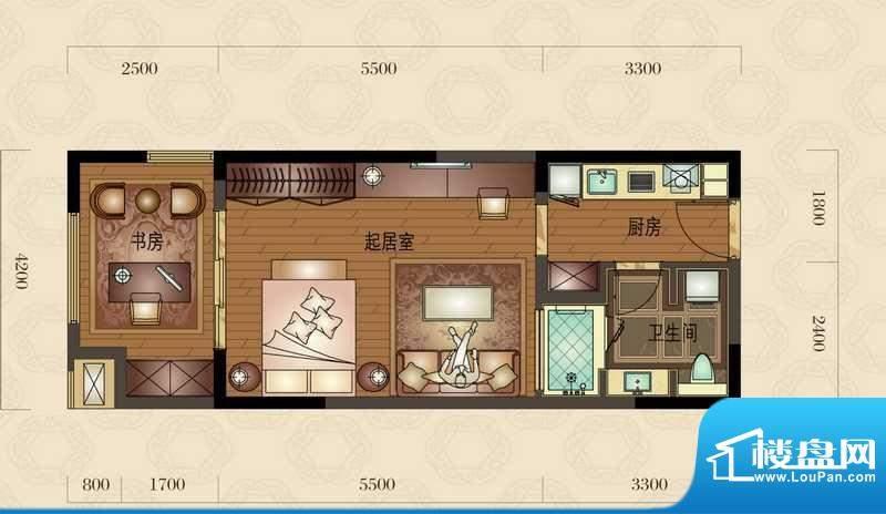 金地澜悦A户型图 1室面积:60.00平米