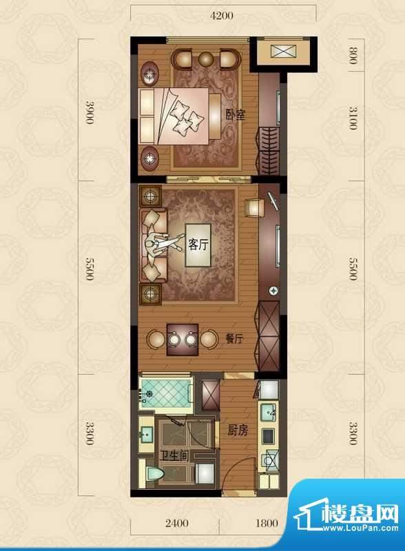 金地澜悦B户型图 1室面积:67.00平米