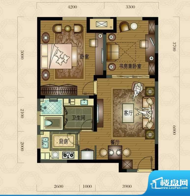 金地澜悦C户型图 2室面积:87.00平米