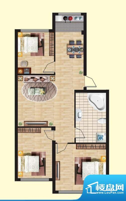 观山名筑B户型图 3室面积:90.75平米