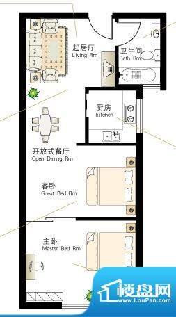 慢城宁海T户型 2室2面积:49.67平米