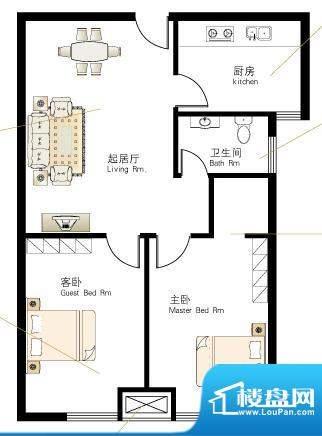 慢城宁海V户型 2室2面积:78.64平米