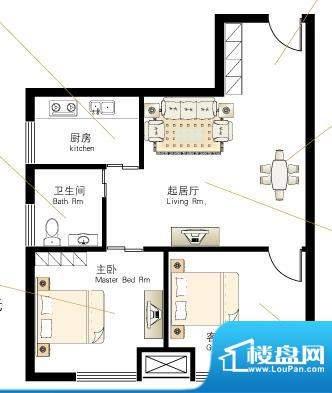 慢城宁海X户型 2室2面积:66.16平米
