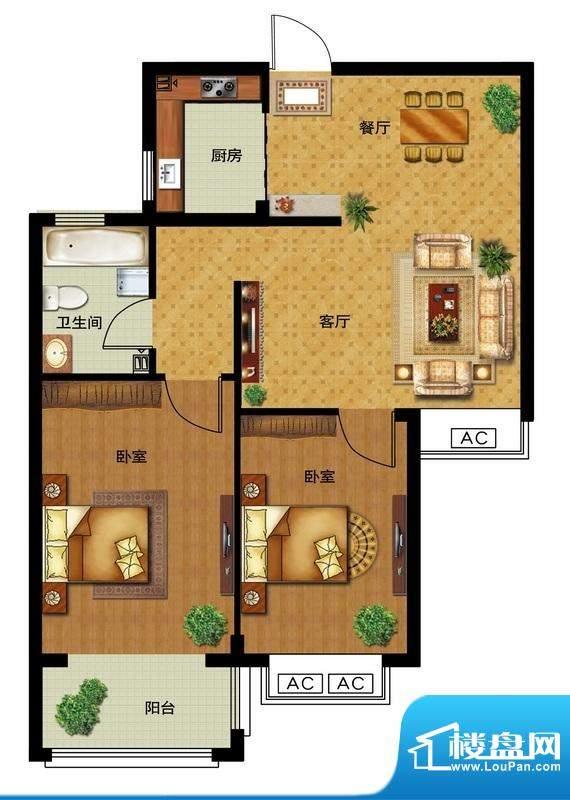 瀛洲宁海B户型图 2室面积:79.00平米