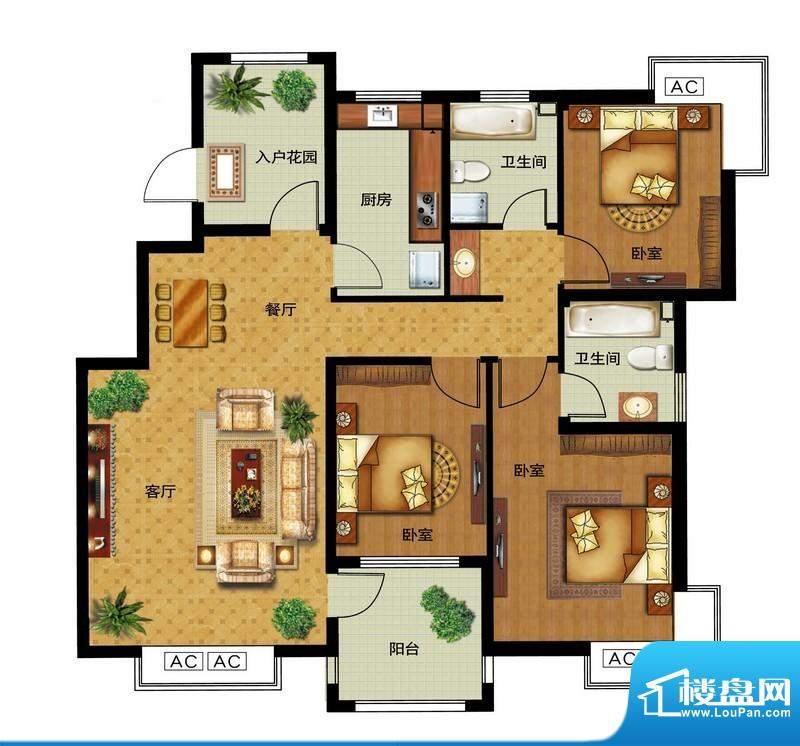 瀛洲宁海C户型图 3室面积:125.00平米