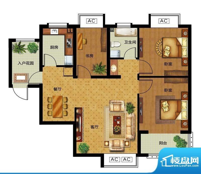 瀛洲宁海D户型图 3室面积:96.00平米