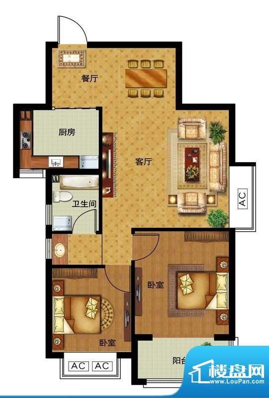 瀛洲宁海E户型图 2室面积:81.00平米
