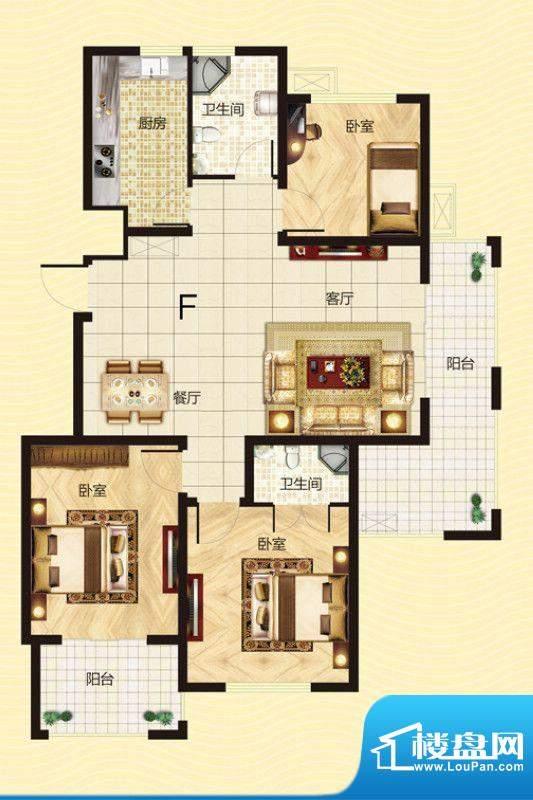 建源山海龙城F户型图面积:113.40平米