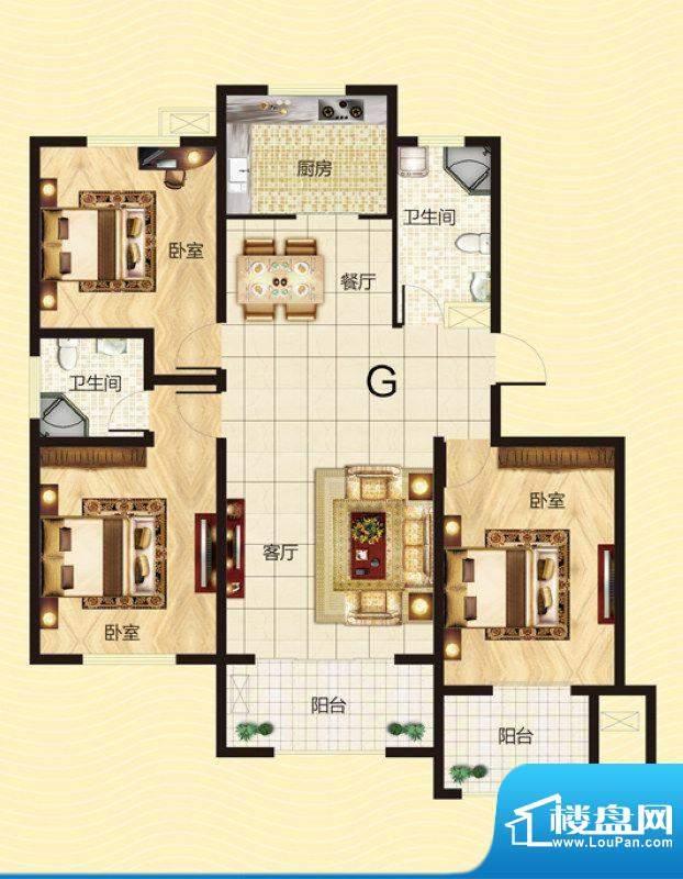 建源山海龙城G户型图面积:127.38平米