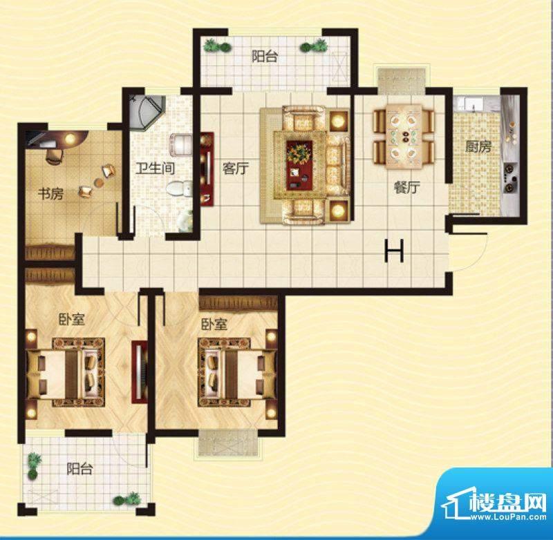 建源山海龙城H户型图面积:107.37平米
