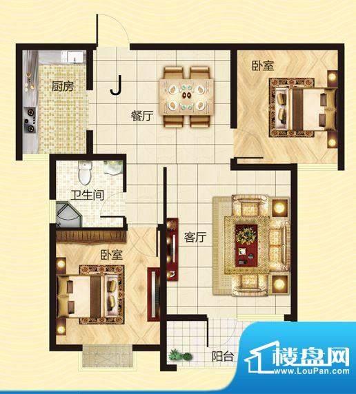 建源山海龙城J户型图面积:85.97平米