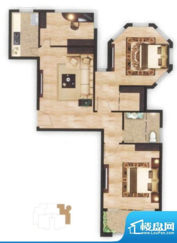 左岸尊邸F户型图 3室面积:98.02平米