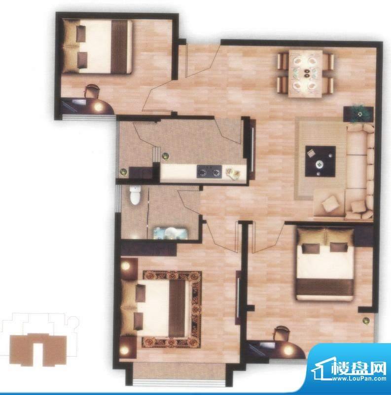 左岸尊邸E户型图 3室面积:89.41平米