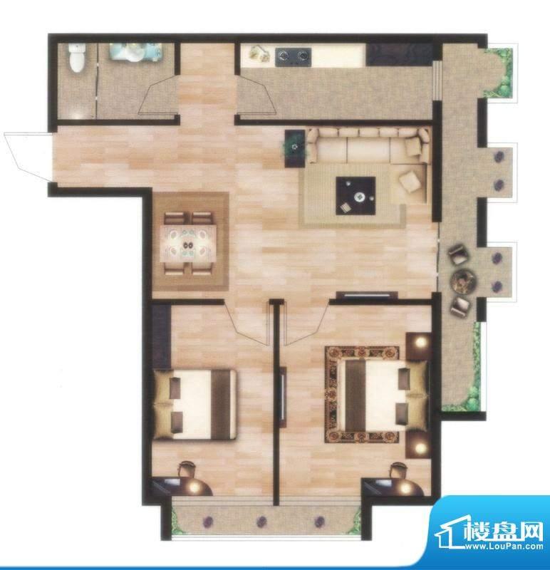 左岸尊邸B户型图 2室面积:77.85平米