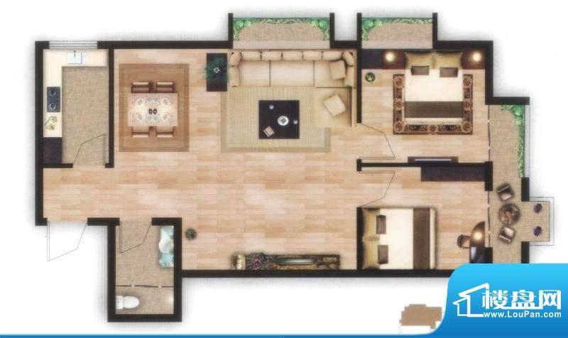 左岸尊邸A户型图 2室面积:80.47平米