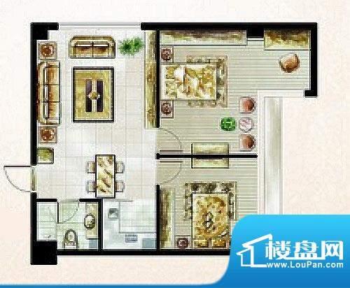 橡树湾C户型图 2室1面积:57.50平米