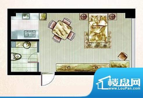橡树湾B户型图 1室1面积:40.37平米