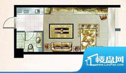 橡树湾A户型图 1室1面积:30.81平米