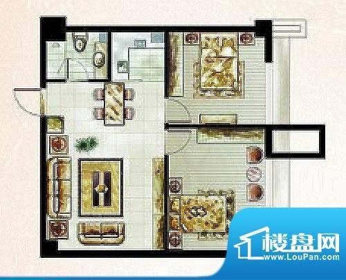 橡树湾D户型图 2室2面积:50.67平米
