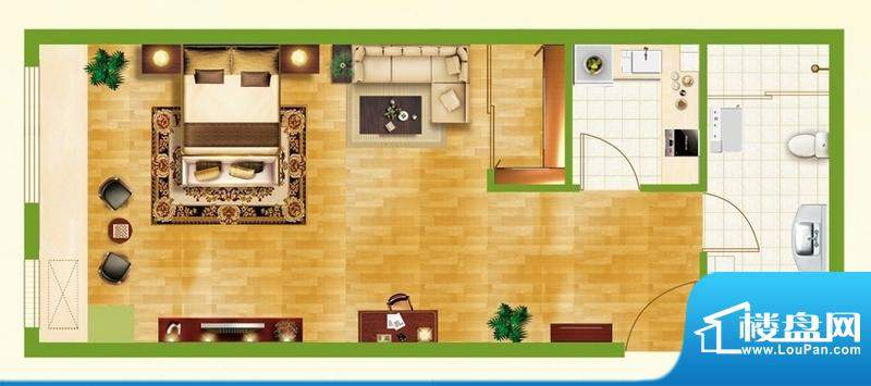 银都新城市广场公寓面积:57.29平米