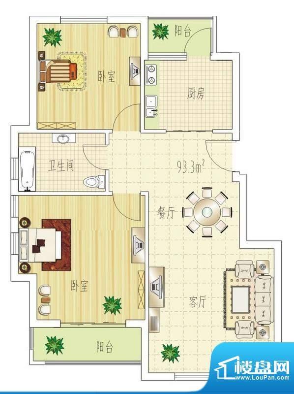 双良福源C户型图 2室面积:93.30平米