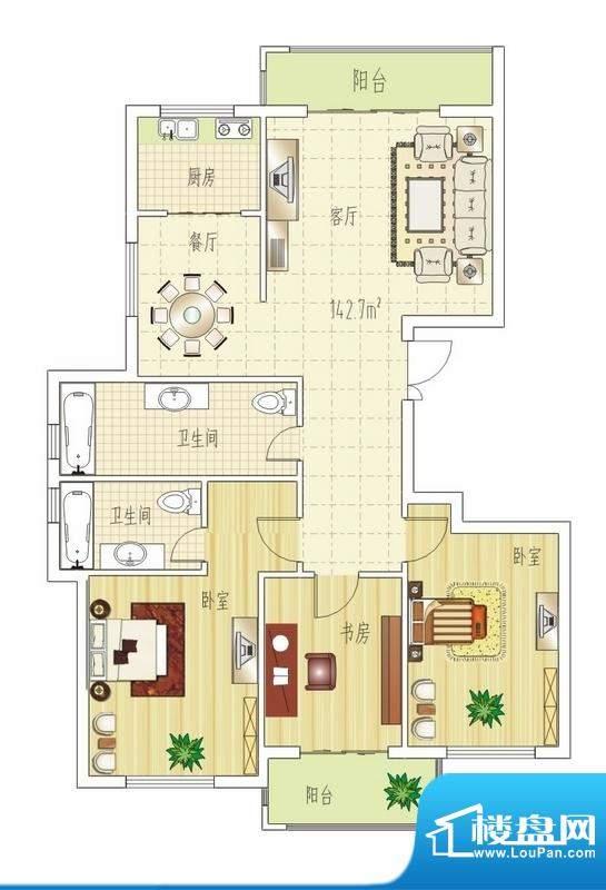 双良福源D户型图 3室面积:142.70平米