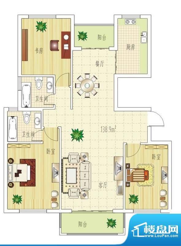 双良福源E户型图 3室面积:138.90平米