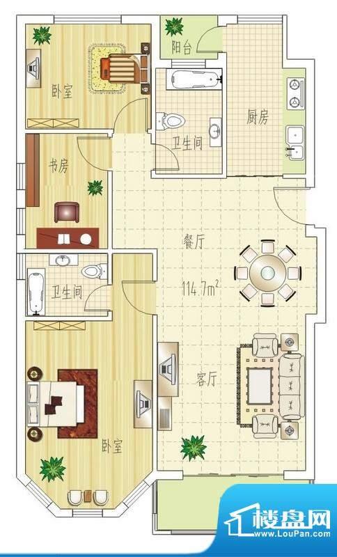 双良福源F户型图 3室面积:114.70平米