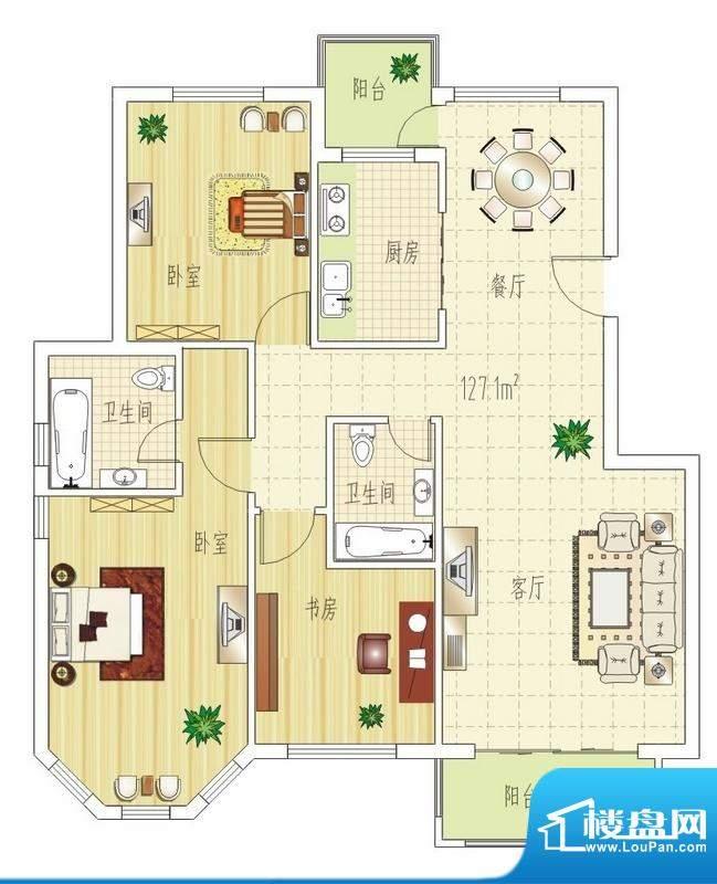 双良福源G户型图 3室面积:127.10平米
