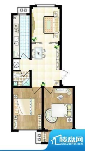 山海名苑B户型图 2室面积:80.00平米