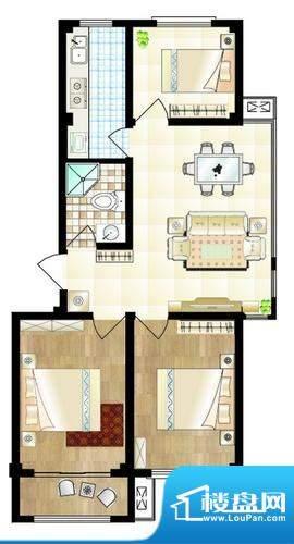山海名苑A户型图 3室面积:87.00平米