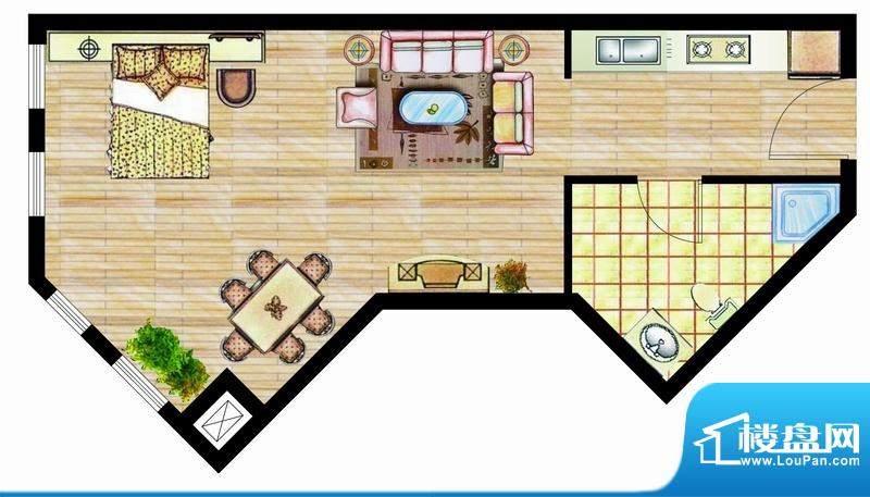 西山华庭1号楼e户型面积:51.25平米