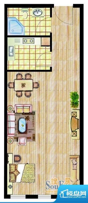 西山华庭1号楼d户型面积:53.15平米