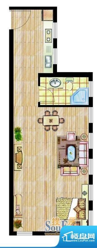 西山华庭1号楼c户型面积:51.06平米