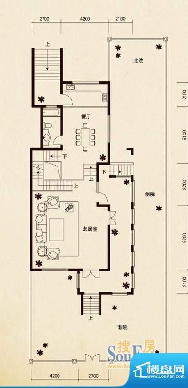 原石滩a户型首层 7室面积:510.21平米