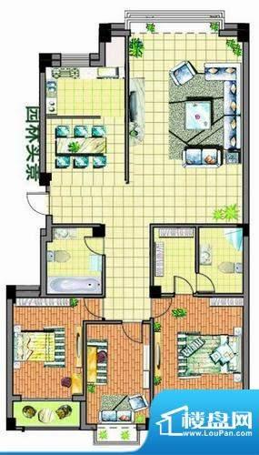 康泰苑O户型 3室2厅面积:151.00平米
