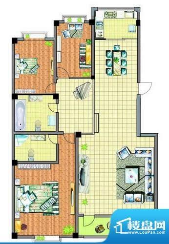 康泰苑P户型 3室2厅面积:128.00平米