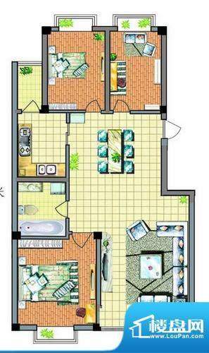 康泰苑Q户型 3室2厅面积:157.00平米