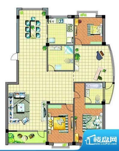 康泰苑R户型 3室2厅面积:170.00平米