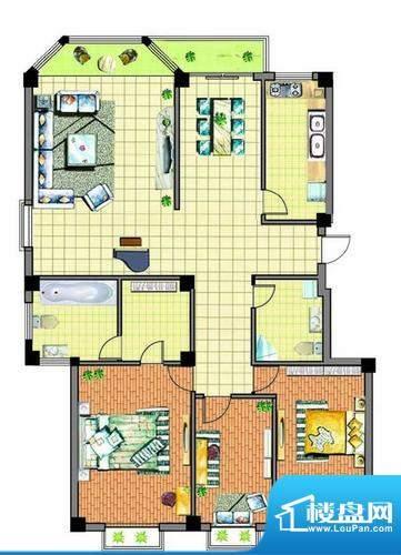 康泰苑S户型 4室2厅面积:193.00平米