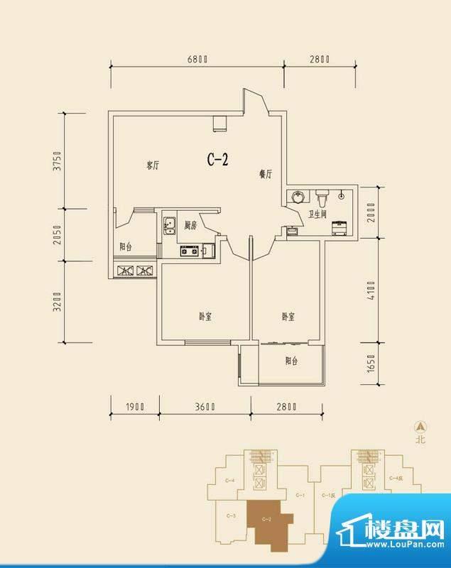 贺阳·鑫贝雅苑C2户面积:97.30m平米