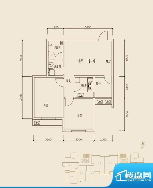 贺阳·鑫贝雅苑B4户面积:84.54m平米