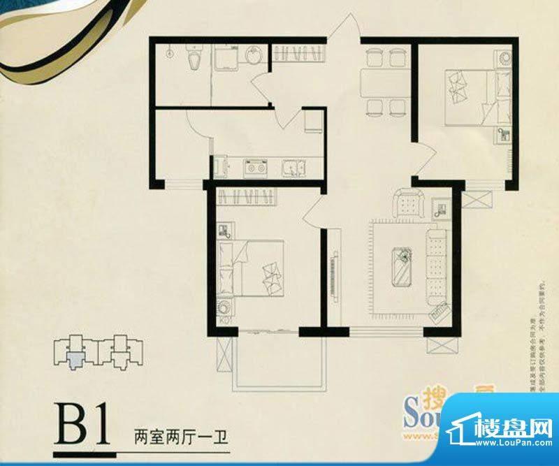 鑫和星都B1户型 2室面积:96.00m平米