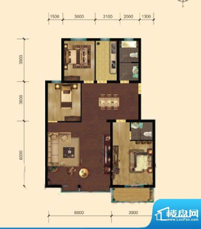 东湖庄园香榭丽户型面积:135.00m平米