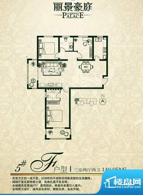 汇博丽景豪庭5#F户型面积:140.95m平米