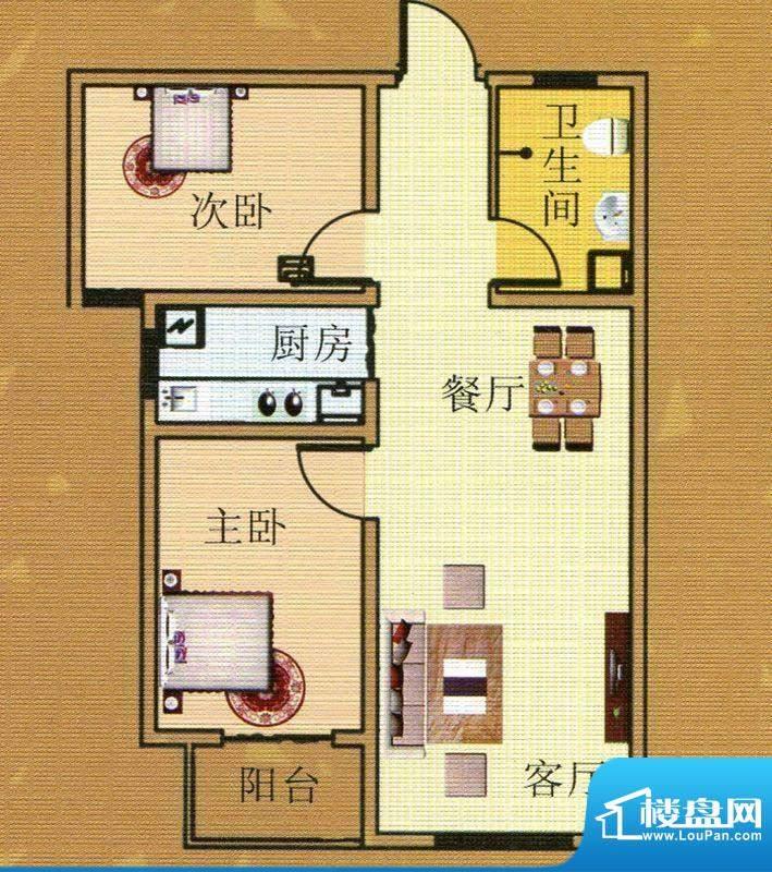 直隶尚都A户型 2室2面积:84.47m平米