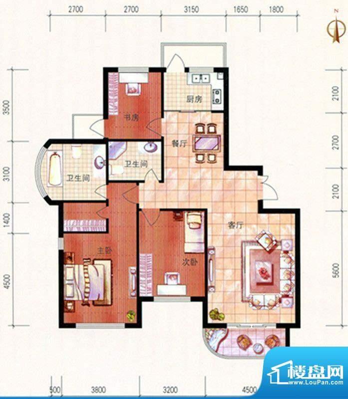 美珠花园J户型 3室2面积:149.02m平米